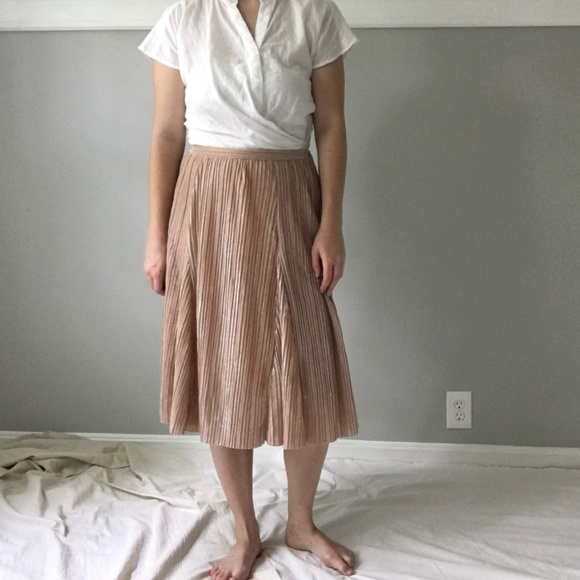 55969f868 Anthropologie Dresses & Skirts - NWOT Anthro Maeve Ambra Rose Gold Pleated  Skirt
